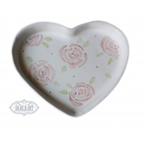 piattino cuore con rose grandi largo